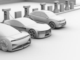 充電ステーションに充電している電気自動車のクレイレンダリングイメージの写真素材 [FYI04614456]