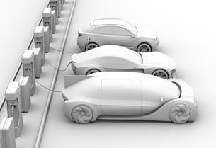 充電ステーションに充電している電気自動車のクレイレンダリングイメージの写真素材 [FYI04614458]