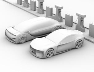 充電ステーションに充電している電気自動車のクレイレンダリングイメージの写真素材 [FYI04614461]