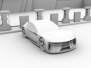 充電ステーションに充電している電動スポーツカーのクレイレンダリングイメージの写真素材 [FYI04614468]