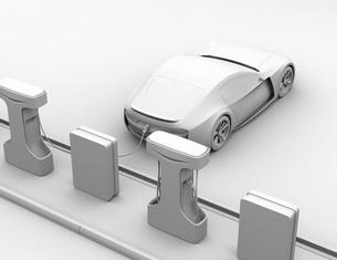 充電ステーションに充電している電動スポーツカーのクレイレンダリングイメージの写真素材 [FYI04614472]