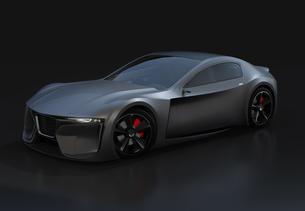 黒バックに艶消しブラックの電動スポーツクーペのイメージ。オリジナルデザインの写真素材 [FYI04614483]