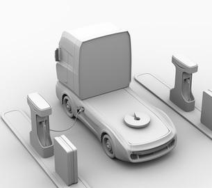 急速充電器とバッテリーが備えている充電ステーションのクレイレンダリングイメージの写真素材 [FYI04614490]