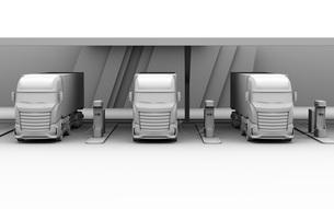 急速充電器とバッテリーが備えている充電ステーションのクレイレンダリングイメージの写真素材 [FYI04614497]