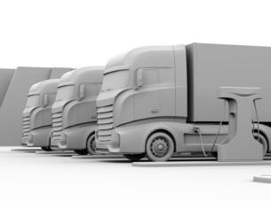 充電中の大型電動トラックのクレイレンダリングイメージの写真素材 [FYI04614498]