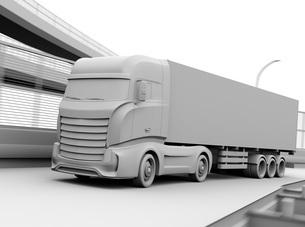 高速道路を走行する大型電動トラックのクレイレンダリングイメージの写真素材 [FYI04614506]