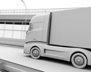 高速道路を走行する大型電動トラックのクレイレンダリングイメージの写真素材 [FYI04614508]