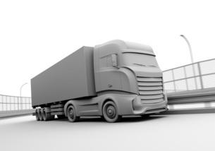 高速道路を走行する大型電動トラックのクレイレンダリングイメージの写真素材 [FYI04614510]