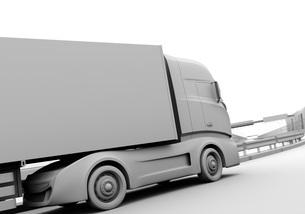 高速道路を走行する大型電動トラックのクレイレンダリングイメージの写真素材 [FYI04614512]
