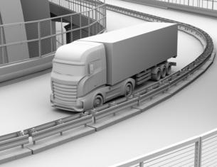 高速道路を走行する大型電動トラックのクレイレンダリングイメージの写真素材 [FYI04614516]