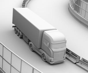 高速道路を走行する大型電動トラックのクレイレンダリングイメージの写真素材 [FYI04614519]