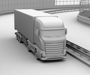 高速道路を走行する大型電動トラックのクレイレンダリングイメージの写真素材 [FYI04614523]