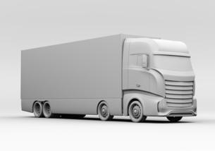 大型電動トラックのクレイレンダリングイメージの写真素材 [FYI04614530]