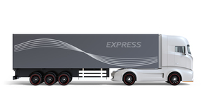 白バックに大型電動トラックの側面イメージの写真素材 [FYI04614534]