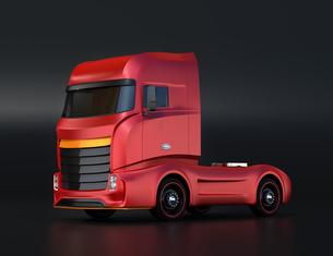 黒バックに大型電動トラックのイメージの写真素材 [FYI04614536]