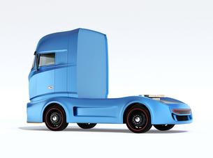白バックに青色大型電動トラックトラクターの後部イメージの写真素材 [FYI04614540]