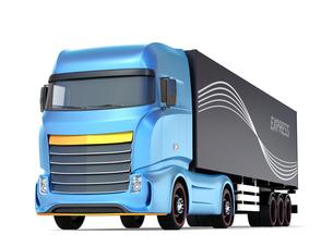 白バックにメタリックブルー大型電動トラックのイメージの写真素材 [FYI04614544]