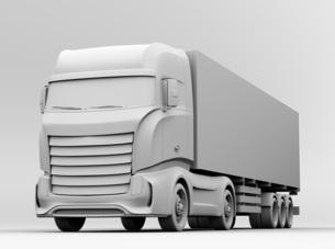 大型電動トラックのクレイレンダリングイメージの写真素材 [FYI04614545]