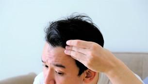 髪を気にする男性の写真素材 [FYI04616943]