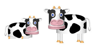 豚顔の牛キャラクターイラスト ひょうきんな表情のなかよし牛のイラスト素材 [FYI04620462]