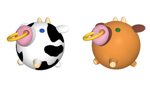 風船のような球体の牛キャラクターイラスト まるまるコロコロかわいいフォルムのなかよし牛 のイラスト素材 [FYI04620464]