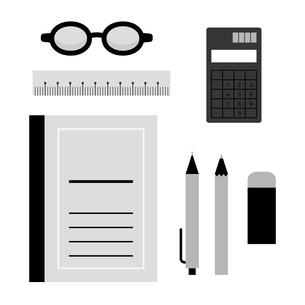 ノートと文房具のイラスト素材 [FYI04620526]