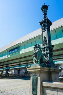 江戸時代から道路網の始点とされる日本橋 日本橋親柱の獅子と東京市章の写真素材 [FYI04620706]