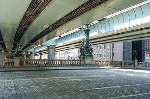 江戸時代から道路網の始点とされる日本橋 日本橋中央柱の麒麟像の写真素材 [FYI04620707]