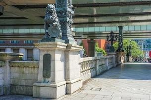 江戸時代から道路網の始点とされる日本橋 日本橋親柱の獅子と東京市章の写真素材 [FYI04620708]