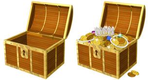 開けたら金貨の溢れる宝箱のリアルイラスト のイラスト素材 [FYI04621119]