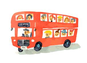 赤い二階建てバスのイラスト素材 [FYI04621305]