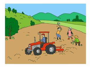 農業 荒地を耕す人々のイラスト素材 [FYI04621308]
