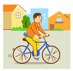 自転車に乗る男性のイラスト素材 [FYI04621311]