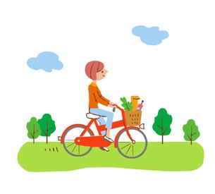 自転車に乗る女性のイラスト素材 [FYI04621312]