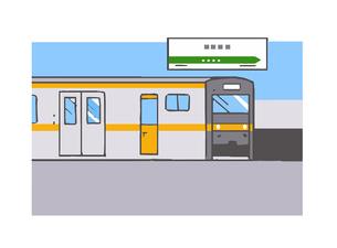 ホームに停車中の電車のイラスト素材 [FYI04621321]