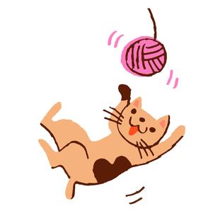 毛糸で遊ぶネコのイラスト素材 [FYI04621334]