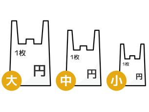 プラスチック製有料レジ袋-サイズ・料金別のイラスト素材 [FYI04621530]