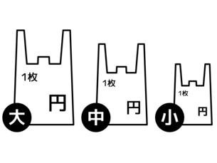 プラスチック製有料レジ袋-サイズ・料金別-白黒のイラスト素材 [FYI04621532]
