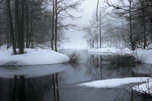 3月 裏磐梯 中瀬沼の雪解け風景の写真素材 [FYI04621641]