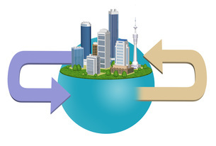 都市の環境変化を表現した矢印入りのイラストのイラスト素材 [FYI04622549]