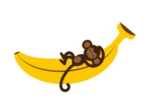 バナナと猿のイラスト素材 [FYI04622611]