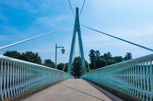 多摩川の清流に架かる鮎美橋(青梅市、釜の淵公園) の写真素材 [FYI04622983]