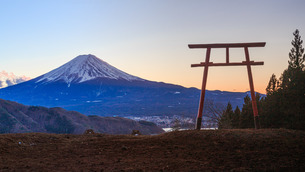 鳥居と富士山の写真素材 [FYI04623025]