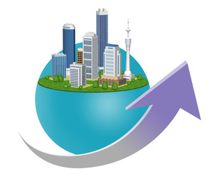 都市の経済成長を表現した矢印入りのイラストのイラスト素材 [FYI04623381]
