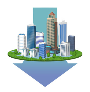 都市の景気後退を表現した矢印入りのイラストのイラスト素材 [FYI04623385]
