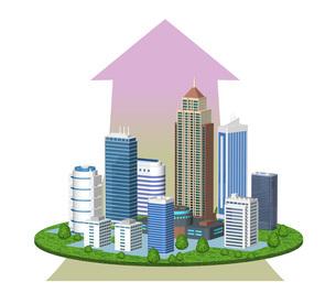 都市の経済成長を表現した矢印入りのイラストのイラスト素材 [FYI04623386]