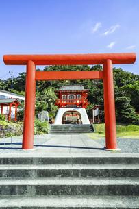 長崎鼻竜宮神社の鳥居と拝殿の写真素材 [FYI04623476]