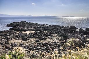 長崎鼻から遠く霞む大隅半島を望むの写真素材 [FYI04623483]