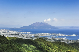 工場地帯と錦江湾越しに見る桜島の写真素材 [FYI04623508]