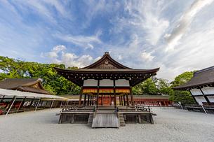 下鴨神社 北側から楼門へ向け眺める舞殿の写真素材 [FYI04623704]